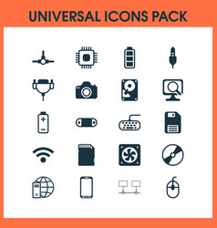 Hardware icons set with scan computer wireless vector