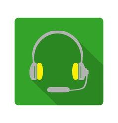 Headphones with microphone icon vector