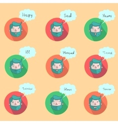 Hipster man beard emoticons color vector