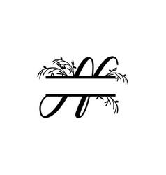 Initial n decorative plant monogram split letter vector