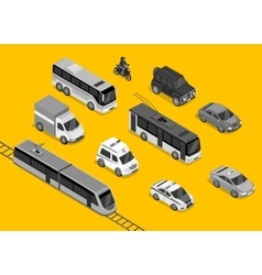 Isometric 3d Transport Set Flat Design vector image