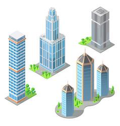 Isometric modern buildings cartoon vector