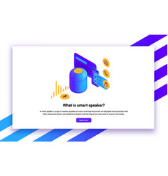 isometric smart speaker vector image