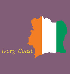Ivory coast map and flag vector