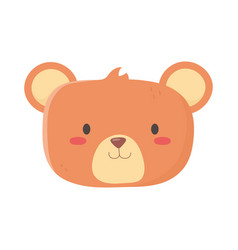 kids toys teddy bear head cartoon isolated icon vector image