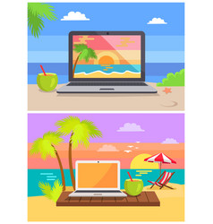 laptops cocktails collection vector image