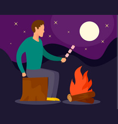 man at camp fire in night background flat style vector image