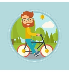 Man riding bicycle in the park vector