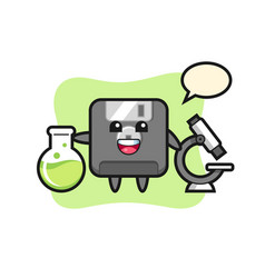 Mascot character floppy disk as a scientist vector