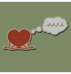 Meditate heart sticker vector