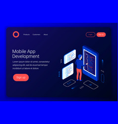 mobile app development concept vector image