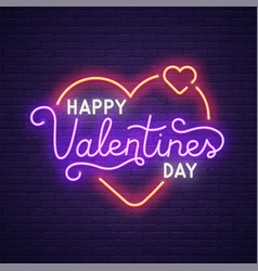 Neon logo label happy valentines day neon sign vector