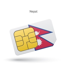 Nepal mobile phone sim card with flag vector image