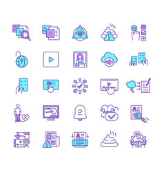 new media rgb color icons set vector image