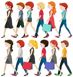 People walking on the road vector image