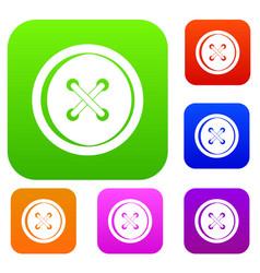 plastic button set color collection vector image