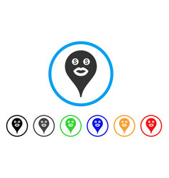 Prostitute smiley map marker rounded icon vector