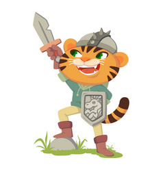 Puss in boots fairy tale character tiger vector