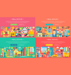 Real estate horisontal banners concept set with vector