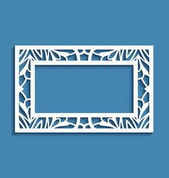rectangle frame with lace border ornament vector image