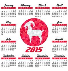 Red goat calendar round vector