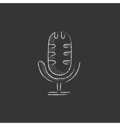 Retro microphone Drawn in chalk icon vector