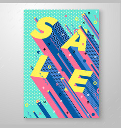 sale memphis style poster geometric shapes vector image