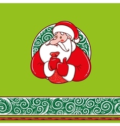 Santa Claus with gifts and border pattern vector