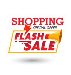 Shopping special offer megaphone flash sale backgr vector