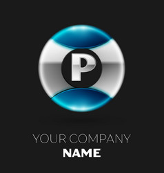 silver letter p logo symbol in silver-blue circle vector image