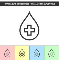 Simple outline transparent blood drop with cross vector