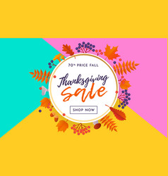 thanksgiving autumn fall sale poster or september vector image
