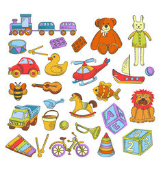 toys isolated icons kindergarten childish games vector image