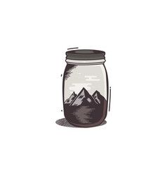 travel t-shirt print mountains and river in vector image