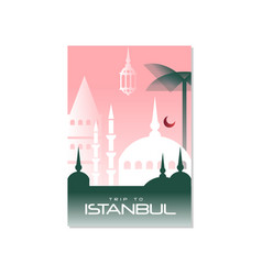 Trip to istanbul travel poster template vector