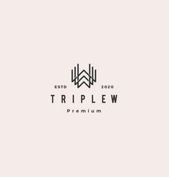 triple w monogram www letter hipster retro vector image