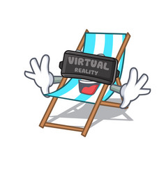 virtual reality beach chair mascot cartoon vector image