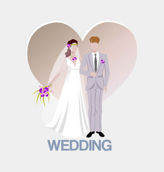 Wedding background with bride and bridegroom and vector