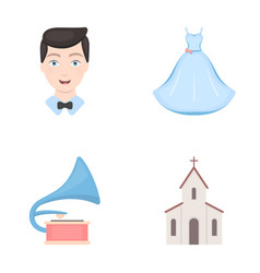 Wedding dress groom gramophone church wedding vector