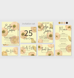 wedding menu information label table number and vector image