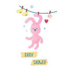 with a cute pink bunny vector image
