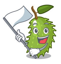 With flag fresh soursop fruit isolated on mascot vector