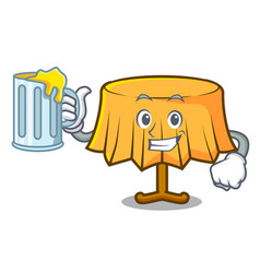 With juice table cloth mascot cartoon vector