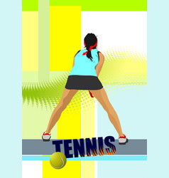 Woman tennis player poster colored for designers vector