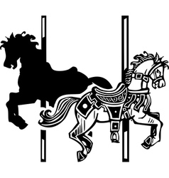 Wooden Carousel Horse Shadow vector image