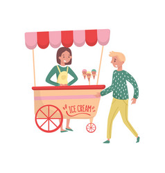 young guy near cart with ice cream girl vendor vector image