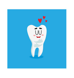 funny shiny white tooth character showing love vector image vector image