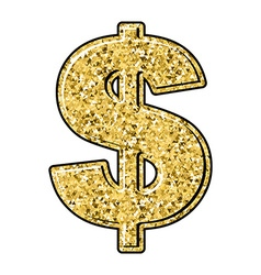 Gold dollar Currency sign of precious metal vector image