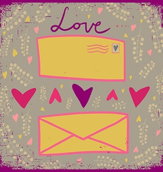 Love card with two letters and hearts Happ vector image
