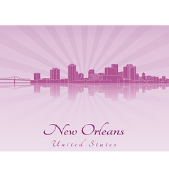 New Orleans skyline in purple radiant orchid vector image vector image